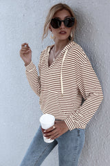 Striped Hooded V-neck Sweater
