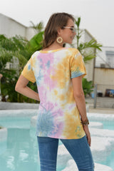 Tie dyed hollow neckline T-shirt