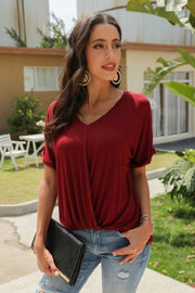 V-Neck Solid Color Pleated T-Shirt