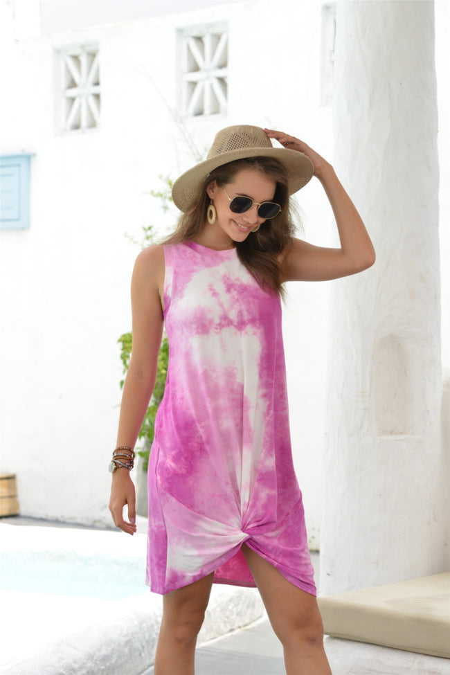 Round neck sleeveless Tie Dye Dress
