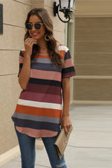 Iridescent  Striped Short Sleeve T-Shirt