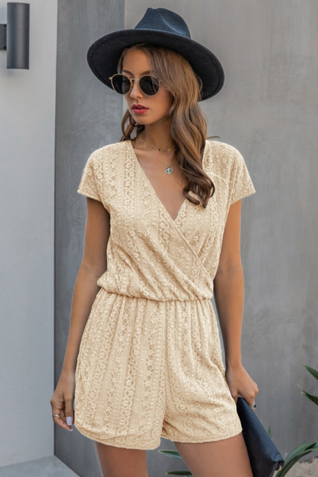 V-Neck Lace Plain One Piece Shorts