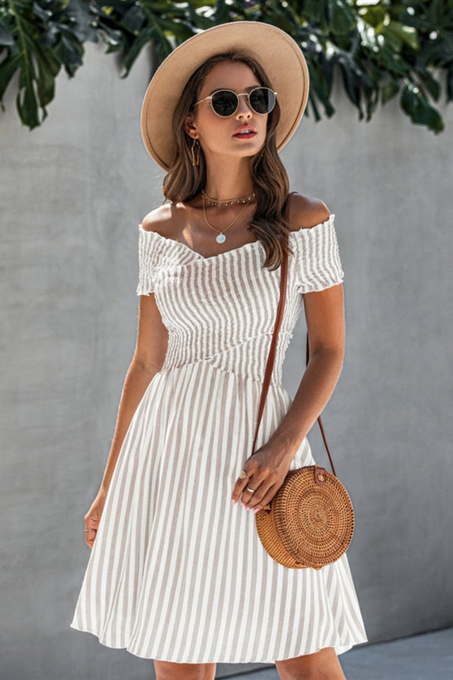 Love Yourself Off Shoulder Striped Dress