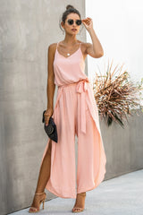 Wide leg side split Jumpsuit