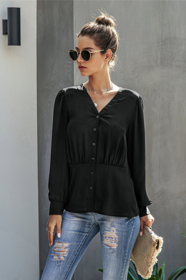V-Neck  Buttons Long Sleeve Blouse