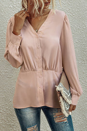 V-NeckButtons Long Sleeve Blouse