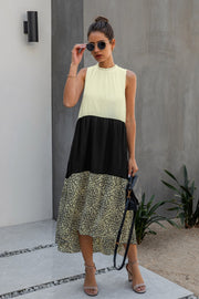 Irregular Leopard Spliting Dress