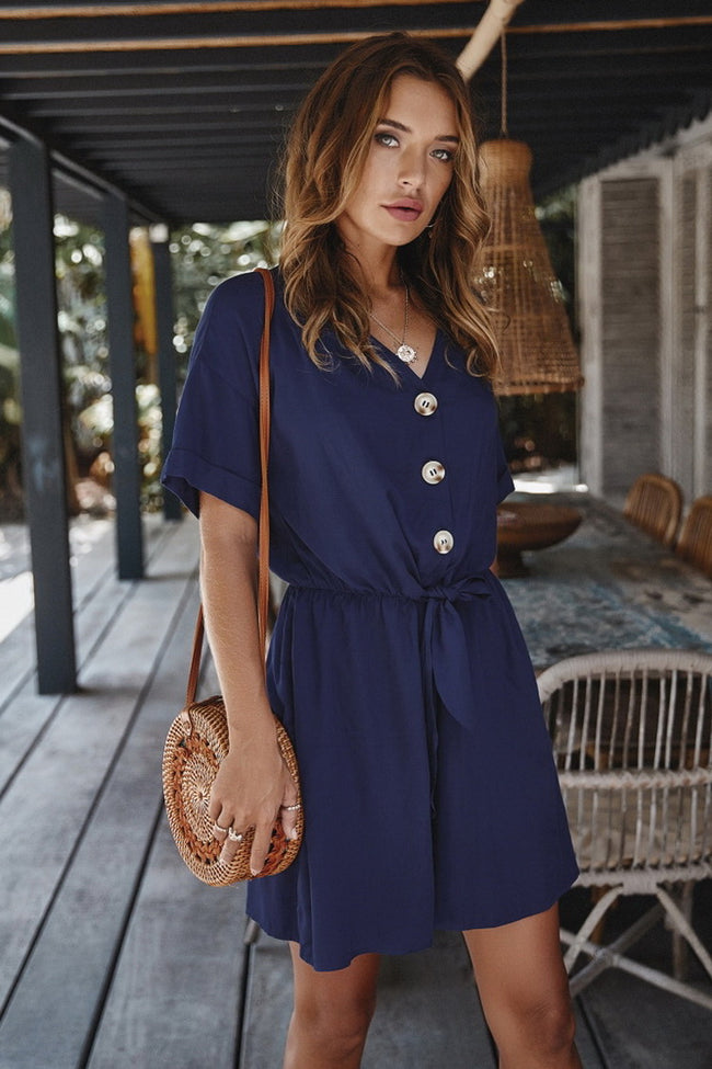 Buttons Belt Romper
