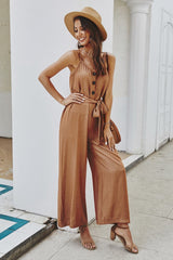Plain Belt Jumpsuit