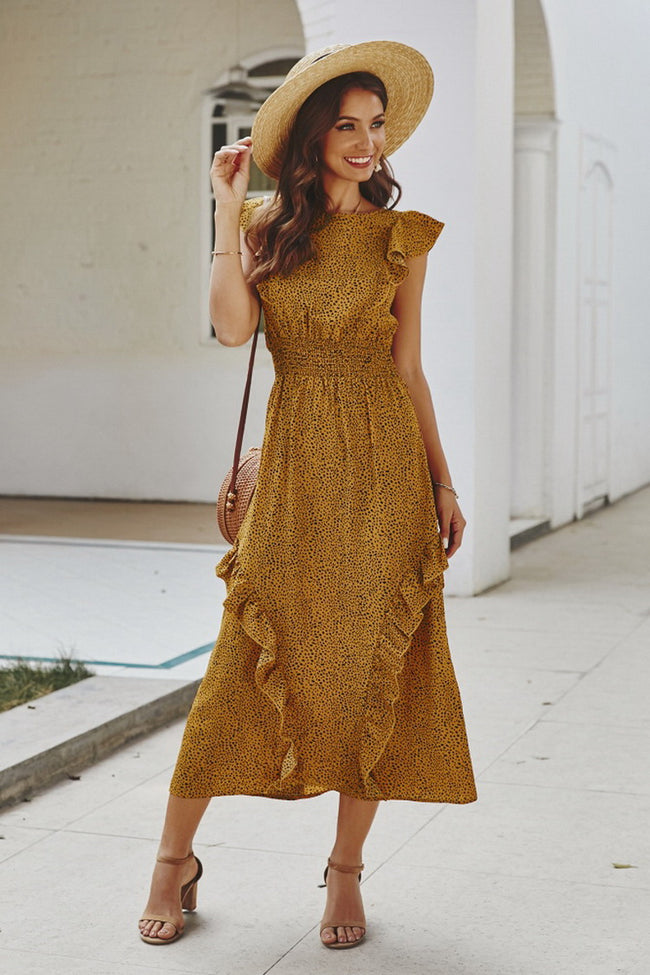 Ruffled Dot Long Dress