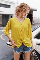Buttons Knot T-Shirt