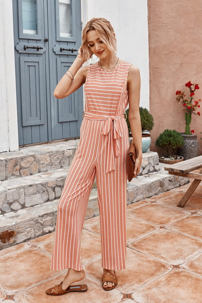 Striped Belt Jumpsuit