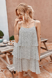 Ruffled Dot Sleeveless Dress