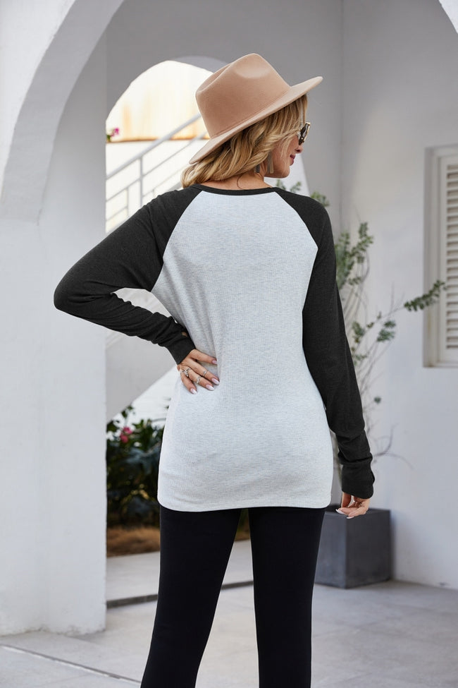 Raglan Sleeve Patchwork T-Shirt