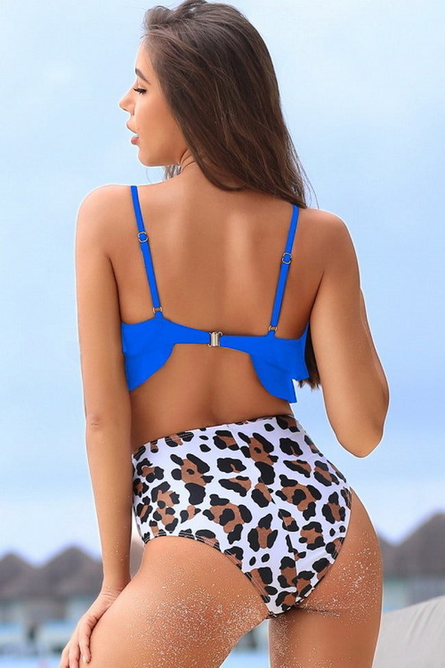 Printed Ruffled Bikini Set