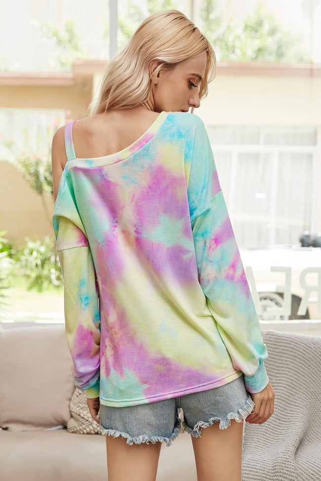 Long-sleeved Strapless Tie-dye Sweater