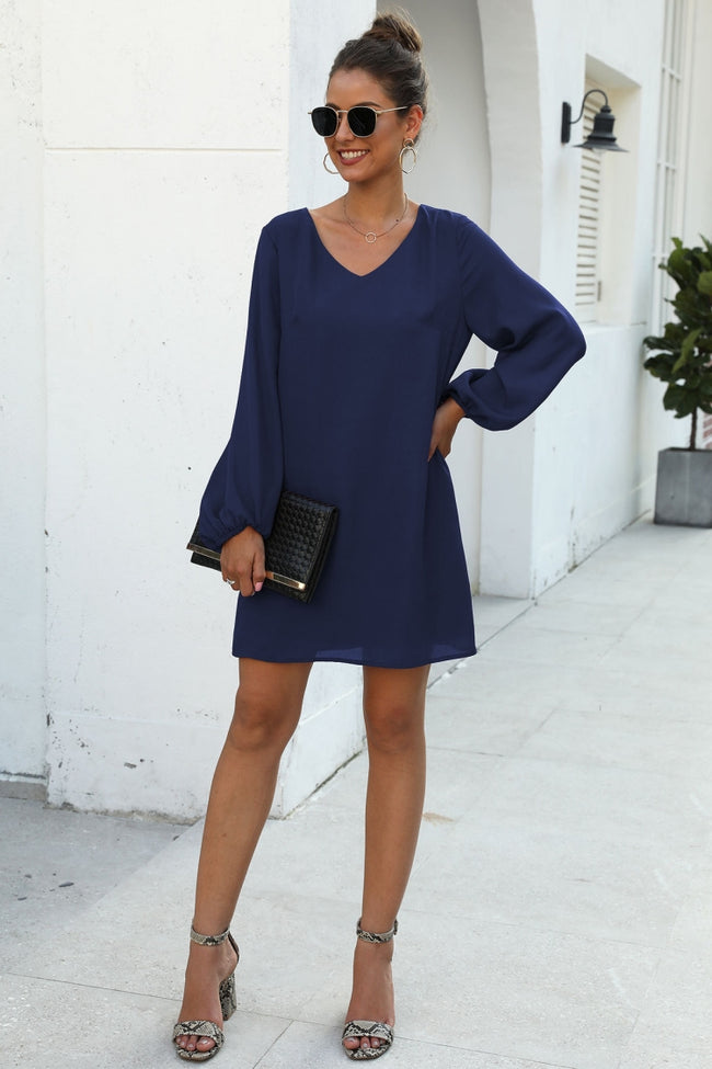 V-neck frock-sleeve dress