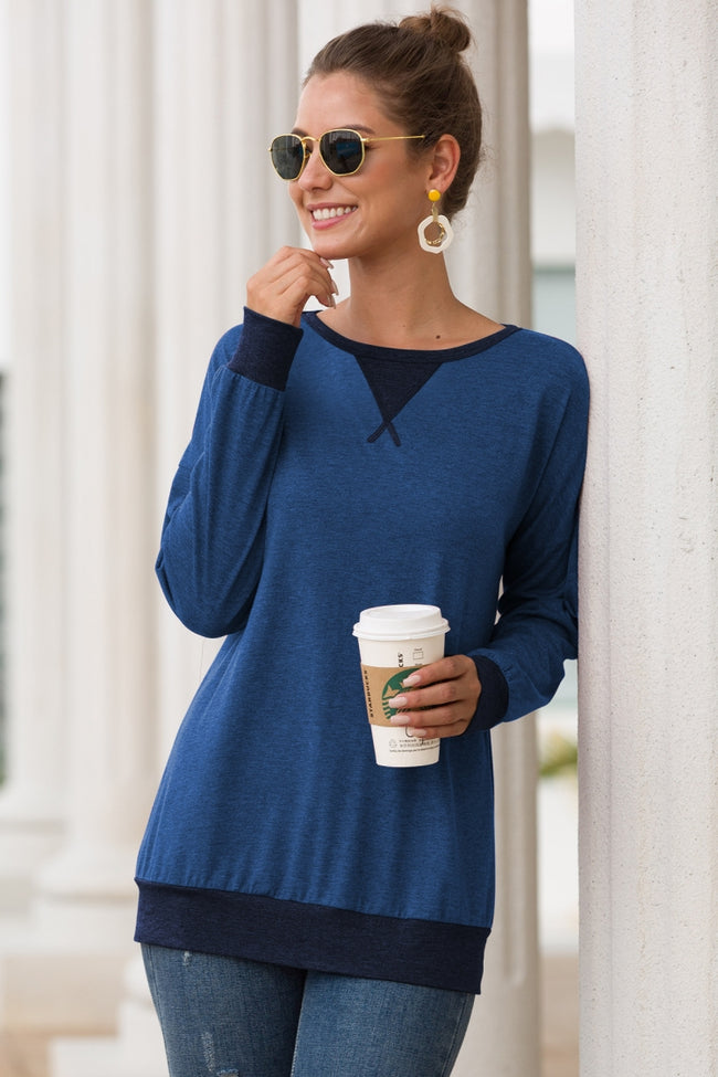 Round neck casual long sleeve T-shirt
