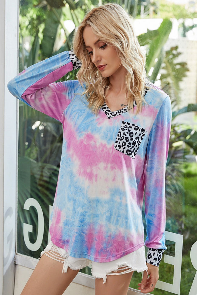 Leopard Stitching Tie-dye Long-sleeved T-shirt