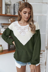 Patchwork Lace Collar Sweater