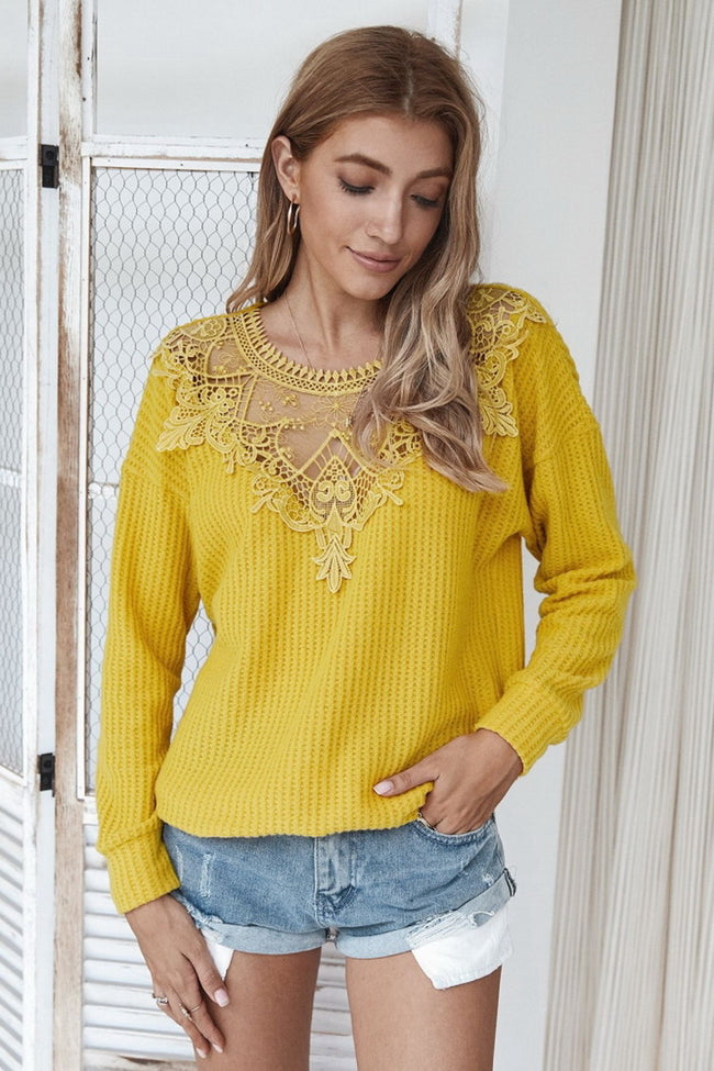 Stitching lace women's sweater