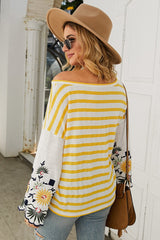 Embroidered striped T-shirt