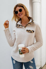Leopard Button Long Sleeve Plush Sweatshirt
