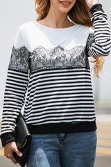 Striped Lace Long Sleeve Sweatshirt