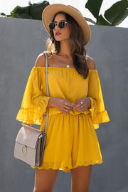 Backless Ruffled Chiffon One-shoulder Romper