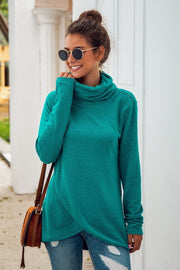 Turtleneck Long-sleeved Irregular Sweater