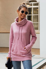 High Neck Drawstrings Plain Sweater