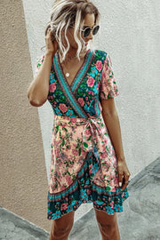 Printed V-neck Short Sleeve Lace Ruffle Dress