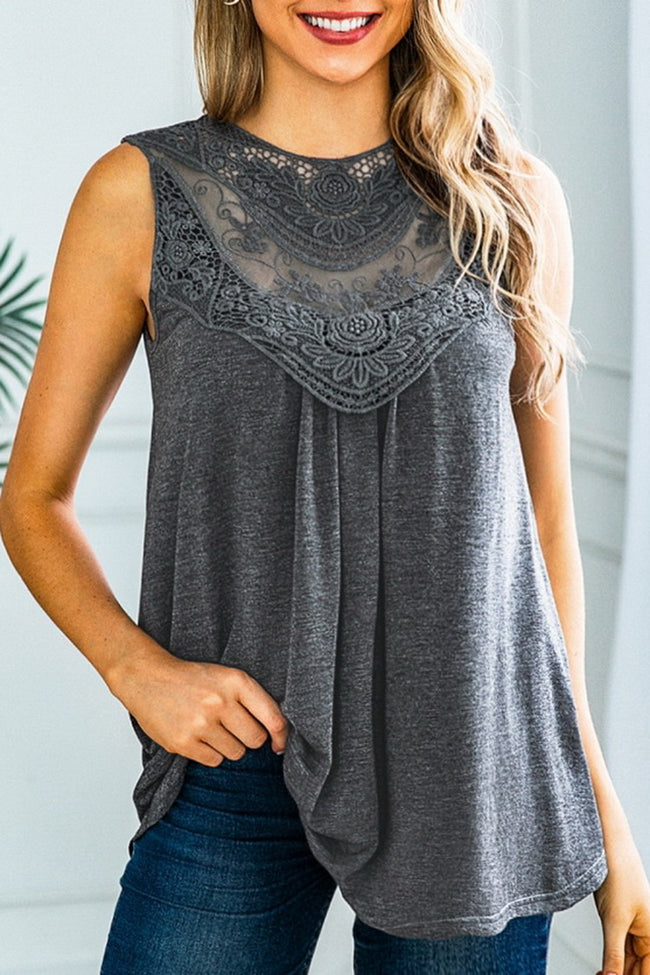 Round Neck Lace Sleeveless Top