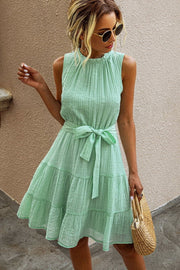 Pure Color Sleeveless Lace Dress