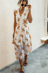 Irregular V-neck Stitching Lace Dress