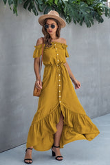 Irregular One-line Neckline Ruffle Dress