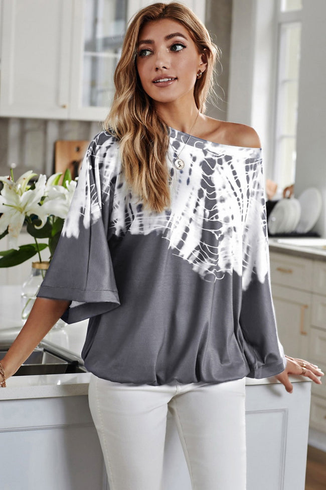 Irregular Short Sleeve Printed T-Shirt