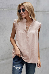 High Collar Button Pleated Top