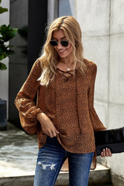 Lantern Long Sleeve Leopards Chiffon Top