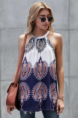 Halter White And Blue Printed Top