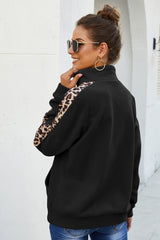 Long Sleeve Leopard Print Stitching Top