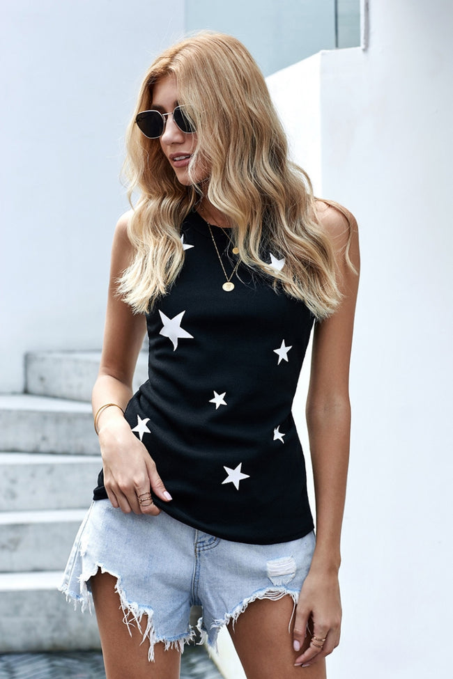 Stars Printed Tight Vest