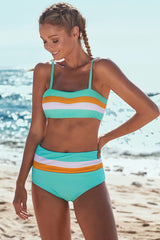 Color Block Striped Bikini Set