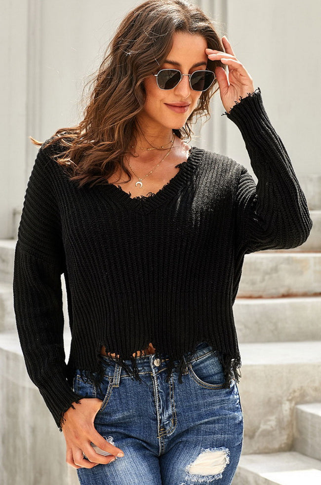 Plain Tassel Sweater