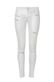 Zipper Solid Color Street Leather Pants