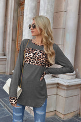 Leopard Print Stitching Round Neck Long Sleeve T-shirt