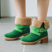 Artificial Suede Chunky Heel Boots