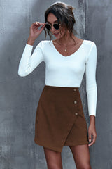Button Solid Color Irregular A-line Skirt