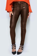Low Waist Motorcycle Zipper Leather Pants