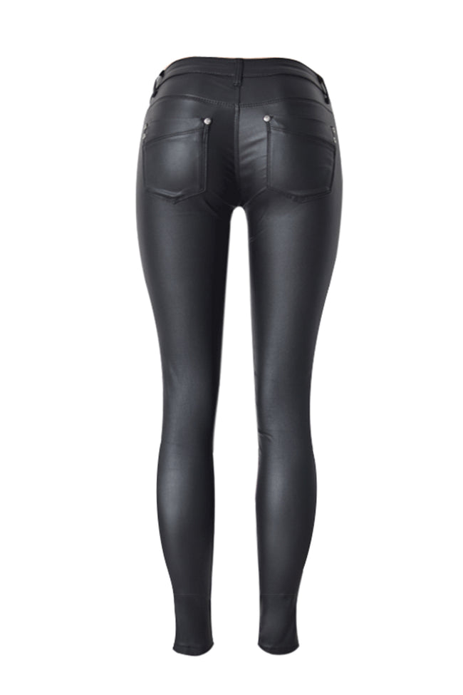 Low Rise Solid Leather Pants